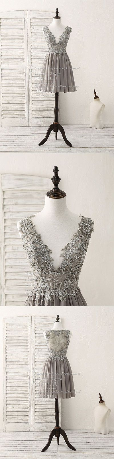 Cute v neck lace chiffon gray short prom dress gray homecoming dress