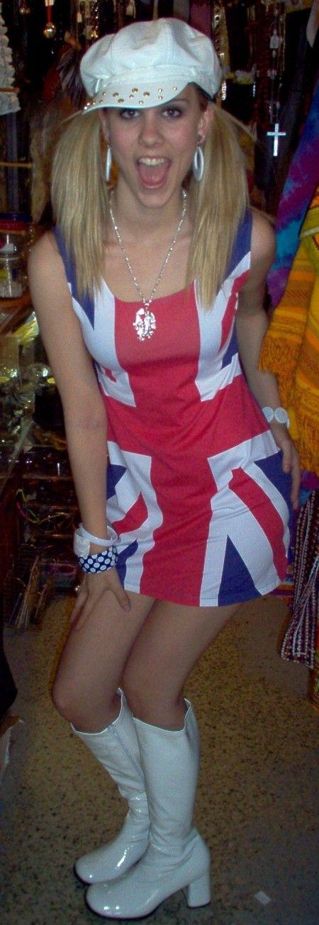 Dallas Costume Shop Spice Girl outfit, 1990's Spice Girls Costume, Ginger Spice Costume Shop Dallas, British flag Dress, Ginger Spice Costume
