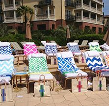 love these monogrammed beach towels for a bachelorette weekend at the beach