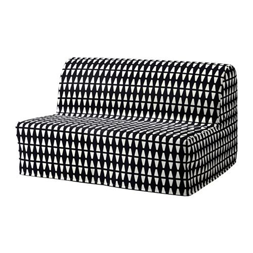 "IKEA - LYCKSELE LÖVÅS, Sofa bed, Ebbarp black/white, $229 -- 55 7/8"" W x 39 3/8"" D -- ""You can choose from three different mattresses and a variety of covers to create a combination that suits you."""