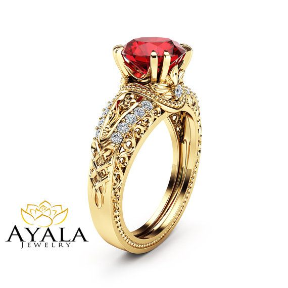 Hey, I found this really awesome Etsy listing at https://www.etsy.com/listing/292071491/ruby-unique-engagement-ring-14k-yellow