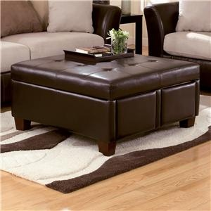 Durahide bicast brown square tufted faux leather ottoman for L fish furniture indianapolis