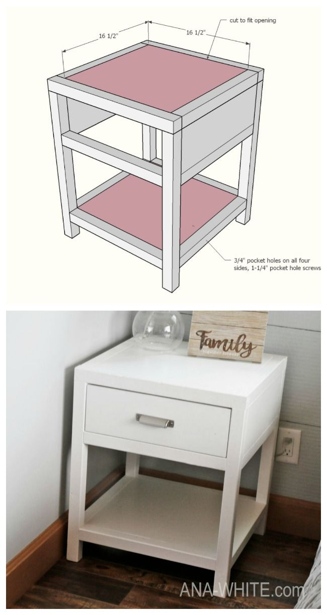 Simple One Drawer Diy Nightstand Diy Furniture Nightstand Diy Drawers Diy Furniture