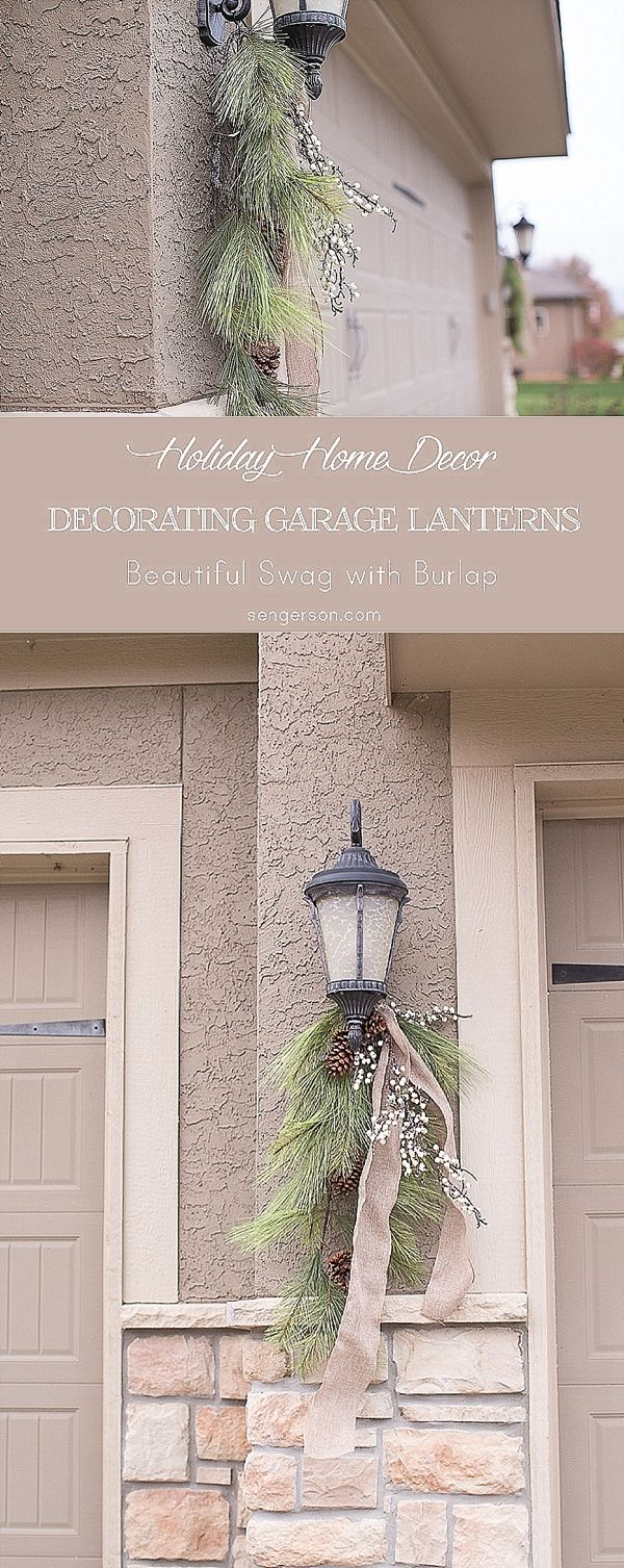 Decorating garage doors and garage door lanterns for Christmas! Great idea for the holidays!