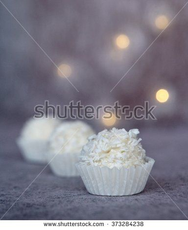 White chocolate with coconut - stock photo