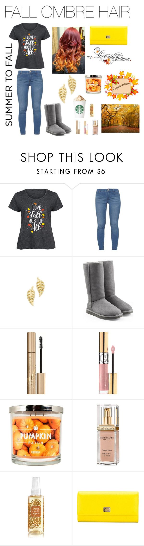 """"""" fall ombre hair """" by seashore77 ❤ liked on Polyvore featuring LC Trendz, Dorothy Perkins, Jennifer Meyer Jewelry, UGG Australia, Stila, Yves Saint Laurent, SONOMA Goods for Life, Elizabeth Arden, Dolce&Gabbana and plus size clothing"""