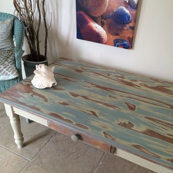 Large Coffee Table, Shabby Chic, Solid Pine, Annie Sloan Cream And Turquoise