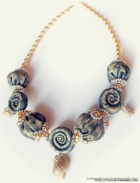 Джинсовое ожерелье из ракушек, бисера и бусин (4) (537x700, 171Kb)