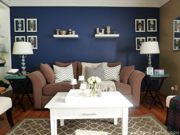 Dark Blue Accent Wall Bedroom 47 best family room images on pinterest | navy walls, home and live