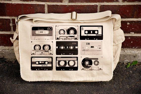 Old Cassette Tapes - Khaki Canvas Messenger Bag