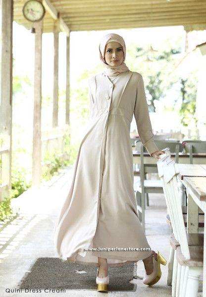 Quini Dress Cream - Klik gambar untuk melihat detail dan harga produk Juniperlane di website zilbab.com. Hijab, Jilbab, Fashion Hijab, Juniperlane Hijab, Hijabi, Juniper Hijab, Juniper Lane.