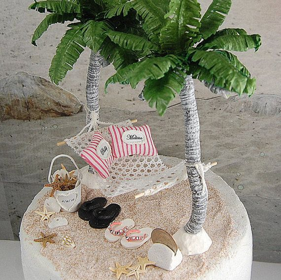 Beach Hammock Cake Topper Custom Designed by Memoriesnminiature