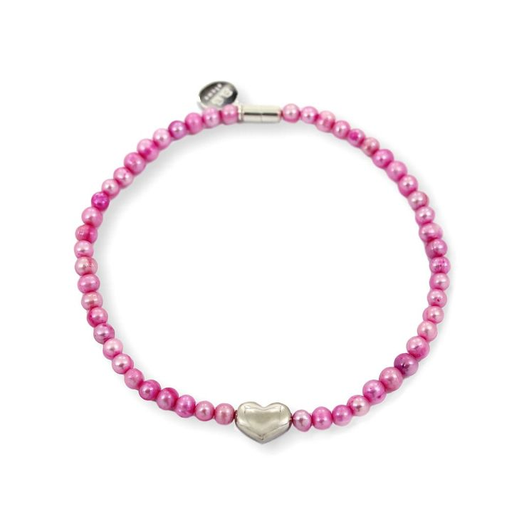 NICOLE HEART Choker - Silver with Pink Pearls