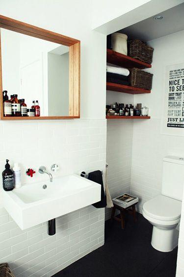 Bathroom: Bathroom Design, Mirror, Idea, Small Bathroom, Modern Bathroom, Subway Tile, White Bathroom, Bathroom Interiors Design, Design Bathroom