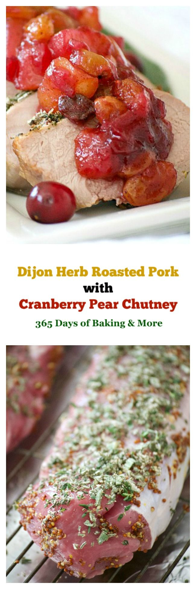 This Dijon Herb Roasted Pork with Cranberry Pear Chutney made with a Smithfield Prime Pork Tenderloin is an easy and delicious dinner perfectly suited for holiday entertaining! #ad