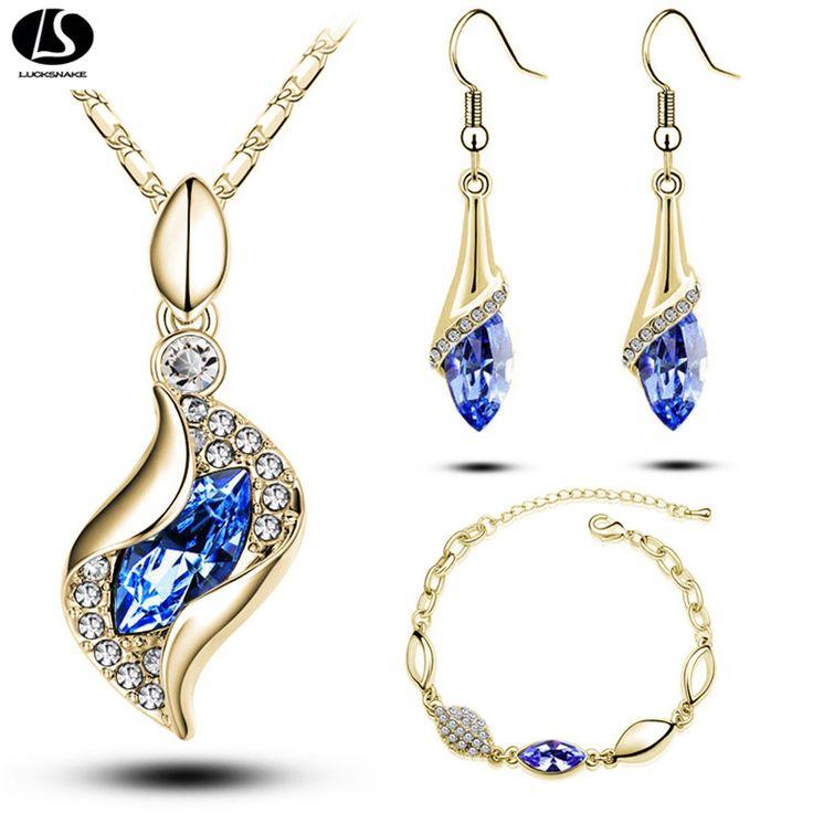 Topkwaliteit Elegante luxe ontwerp nieuwe mode vergulde kleurrijke Oostenrijkse crystal drop sieraden sets vrouwen gift g206