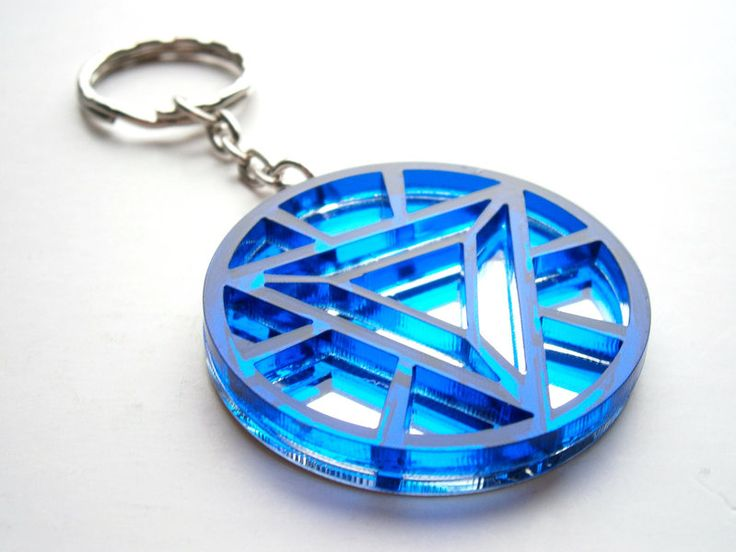 Iron Man Keychain Heart Arc Reactor Laser Cut Heart