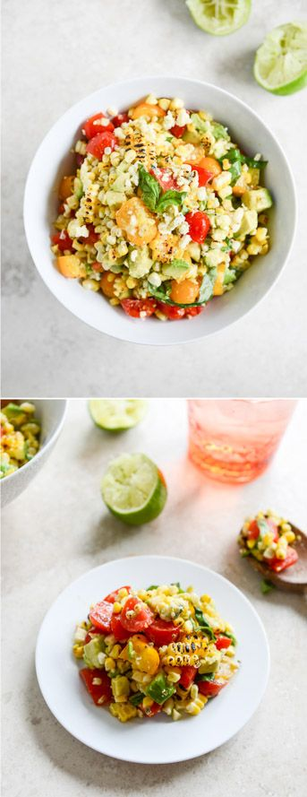 Embarrassingly Easy Grilled Corn and Tomato Salad - super simple and delicious! I howsweeteats.com