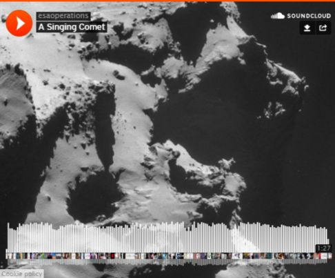 """Rosetta Spacecraft Picks Up a Mysterious Song From Comet 67P - As ESA's Rosetta spacecraft prepared to dispatch its Philae lander to the surface of Comet 67P/Churyumov-Gerasimenko, a set of instruments on Rosetta picked up a mysterious """"song"""" from the comet. Neutral particles released into space by the comet may becoming electrically charged or ionized. The mechanism behind the oscillations remains a mystery"""