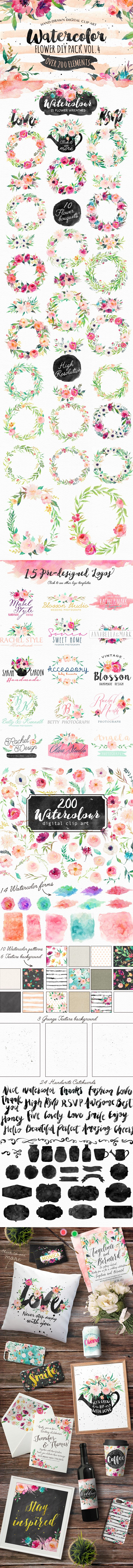 hand drawn digital clip art floral wreath watercolor painted flowers floral girly feminine