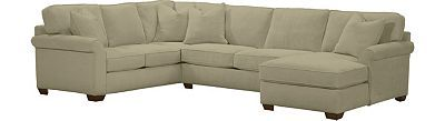 Havertys - Norfolk Sectional Pecan with 4 square ottomans-2 pecan and 2 linen