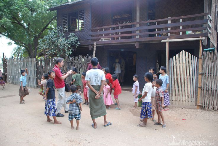 Locals children are happy to see white people in Monywa