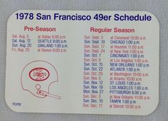 nfl 1978 san francisco 49ers pocket football schedule card - bank of america from $5.25