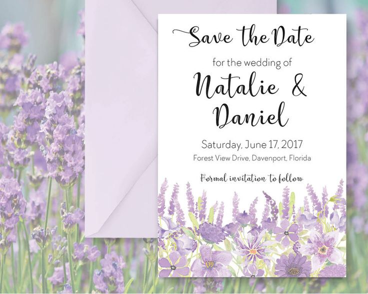 Save the Date; hand painted watercolor Lavender; DIY print; includes custom text; printable wedding stationery by LollysLaneShoppe on Etsy