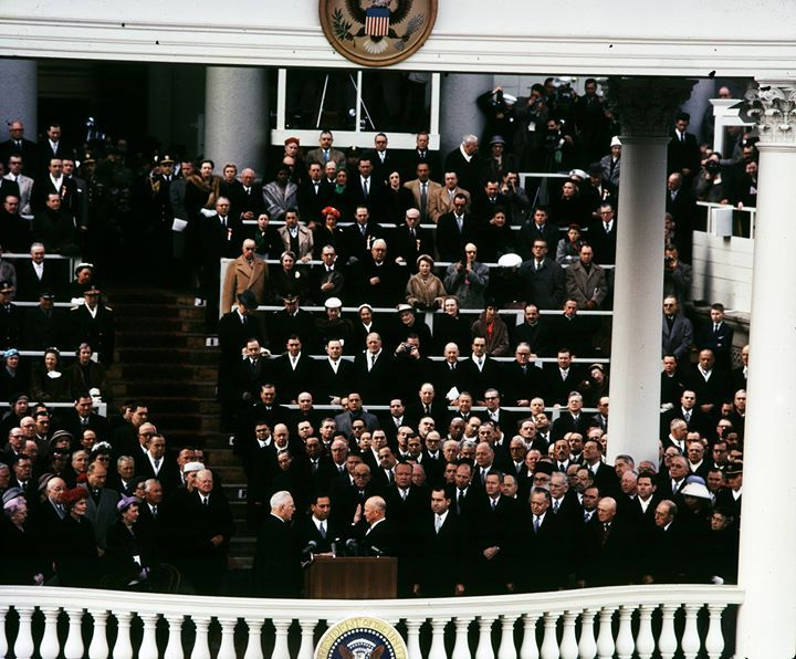 On this day in history: US Chief Justice Earl Warren swearing Dwight Eisenhower into office as the President of the United States US Capitol building Washington DC United States 21 January 1957.