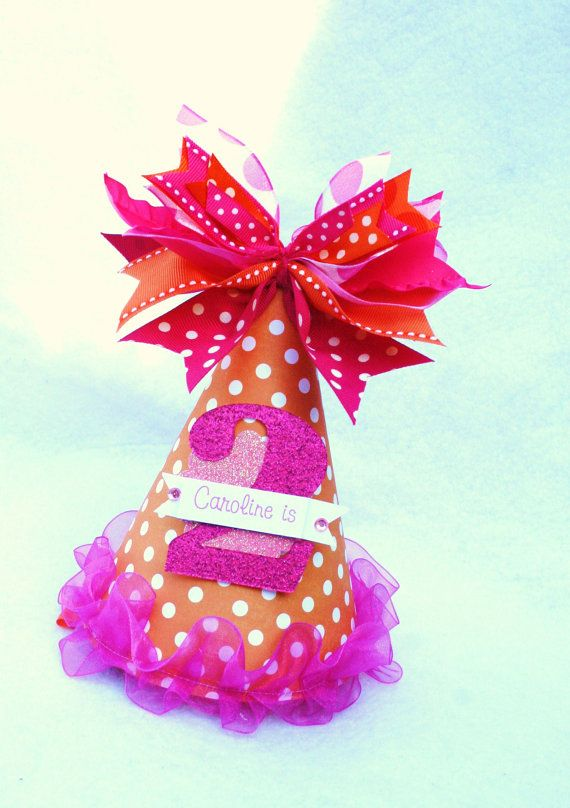 Orange and Hot Pink Polka Dot Sweet Shop Birthday Party Hat
