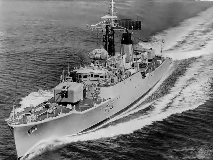 HMS Leopard(F14), a Leopard class Type 41 Anti Aircraft Frigate, built at Portsmouth dockyard she was commissioned on 30/09/58. In '63 severly damaged when in collision  with South African minesweeper Pietermaritzburg. Serve in both the '73 & '75 Cod Wars with Iceland. Scrapped in Dartford 1977.