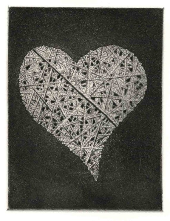 Heart String  original Etching dry point by chartwellprint on Etsy