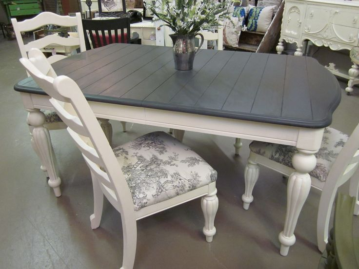 This Was Done In Graphite And Old White With Pastoral Toile Fabric From The Annie Sloan Fabric Collection Painted Kitchen Tables Home Decor Furniture