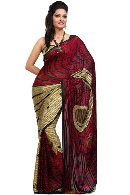 Amazon.com: Carnelian Red and Buff Brown Faux Georgette Printed Saree: Clothing
