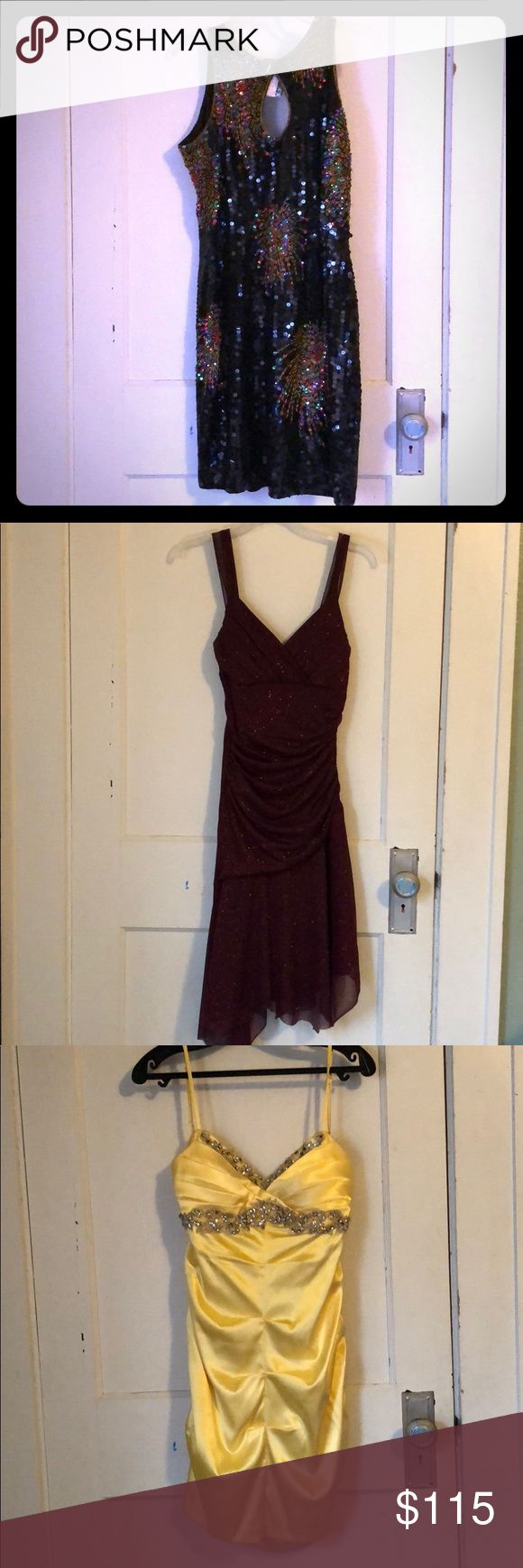 Formal, homecoming, and prom dresses The sparkly purple dress, flower purple dress, plain yellow dress, and blue dress are all a size medium. The sparkly black dress and the plain black dress are all a size large. The black and white sparkly dress is a size 11. The red dress is a size 12 and the metallic yellow dress is a size 13. Dresses Prom