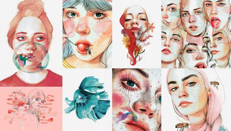 Retrato ilustrado en acuarela (Ana Santos). Curso Online | Domestika