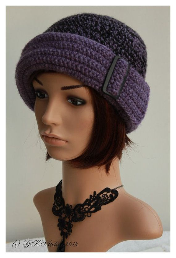 crochet Hat black lilac by GKAtelier on Etsy