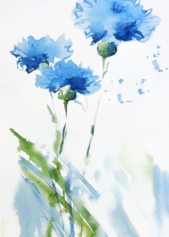 Cornflower-Kunstdruck, abstrakte blaue Blumenkunst des Aquarells, Aquarellaquarellmalerei, wunderliche Kunst, blaues Grünweiß, Schlafzimmerdekor – Art