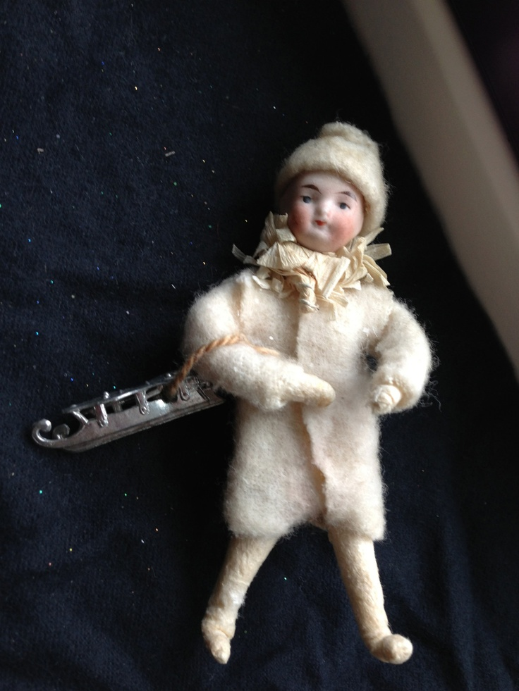Vintage Heubach Christmas Spun Cotton Figure Boy with His Skates | eBay