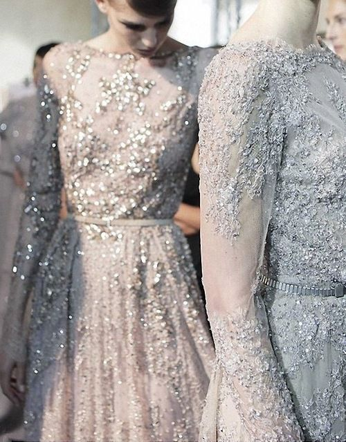 Runway sparkle and lace.