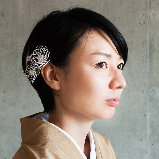水引髪飾り ミニ薔薇(純白)