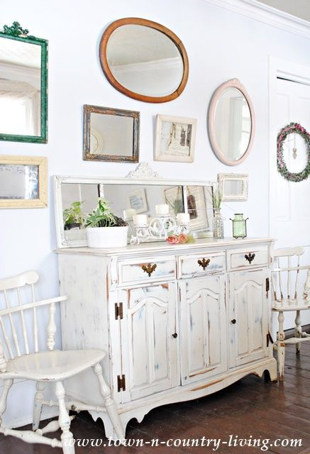 Dining Buffet with Gallery Wall of Vintage Mirrors                                                                                                                                                                                 More
