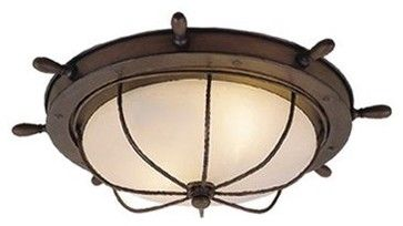 Vaxcel Two-Light Nautical Flush Mount Ceiling Light, Antique Red Copper eclectic ceiling lighting  $95.70  Your little captain would love a nautical light like this. It's perfect for a little boy's room.   — JourneyChic