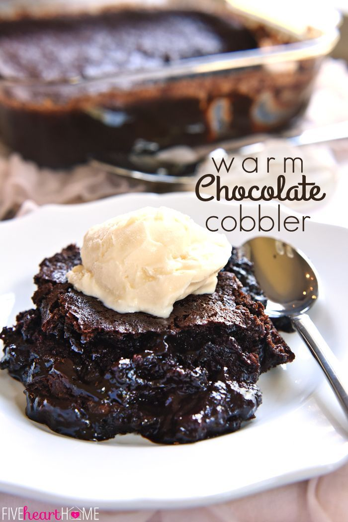 Warm Chocolate Cobbler ~ a layer of moist chocolate cake floats on top of a caramel-streaked, coffee-laced, pudding-like layer of sauce | FiveHeartHome.com