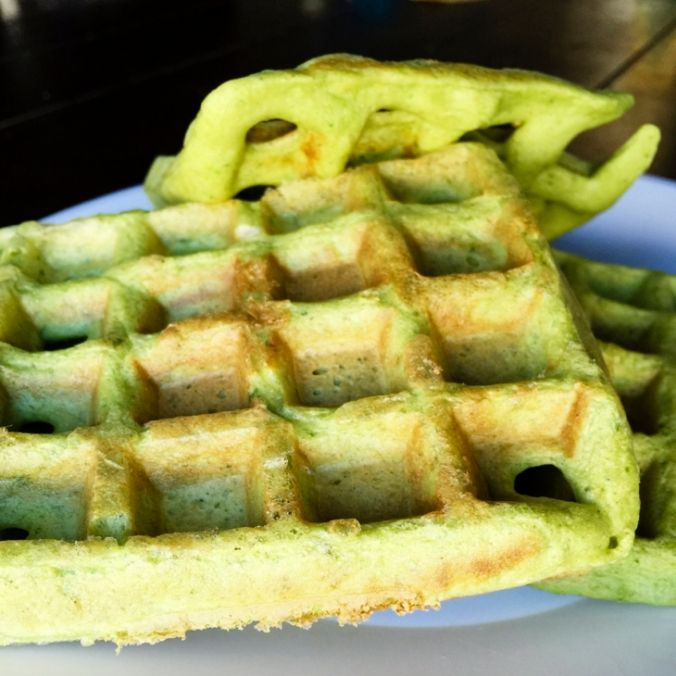 """HEALTHY and FILLING Spinach Protein waffles.  They're good.  My kids will even eat them (after they get over the whole """"they're green"""" issue)."""