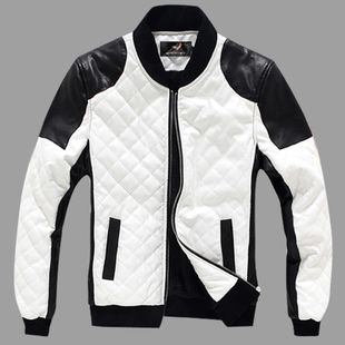 Leather jacket men pule size S-4XL motorcycle PU slim fit leather jackets for men 2014 new fashion mens faux fur coats White US $69.40