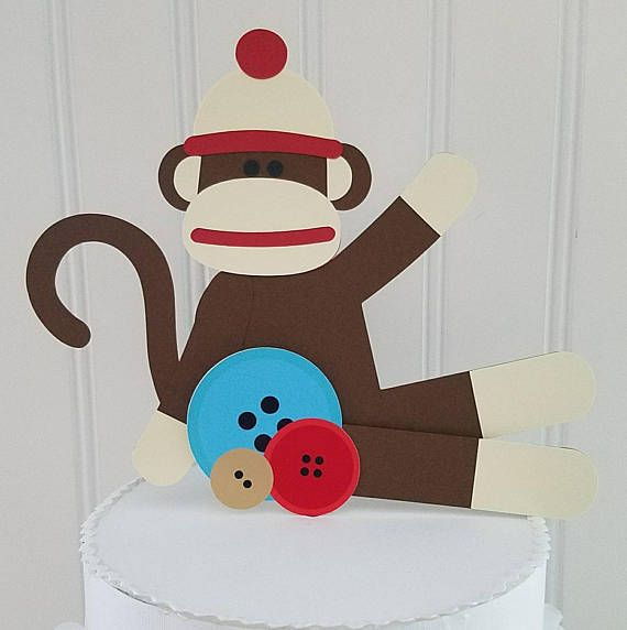 Check out this item in my Etsy shop https://www.etsy.com/listing/522645267/sock-monkey-smash-cake-topper-sock
