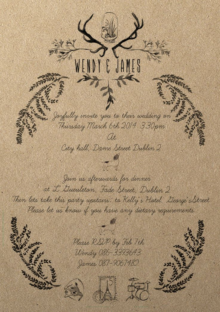 Kraft paper wedding invitation for the lovely Wendy and James