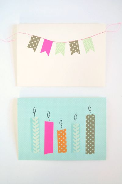 make your own birthday cards and party invites with washi tape