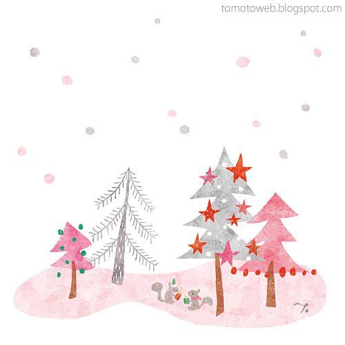 Lovely illustration @ tomoto: Christmas Forest